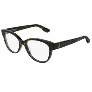 Saint Laurent Square Eyeglasses Havana W/Demo Lens